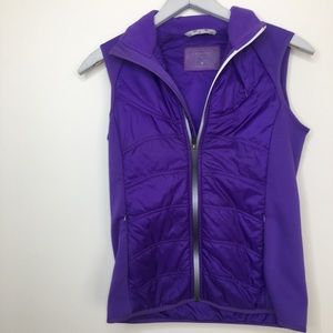 athleta down vest with floral design on back Small